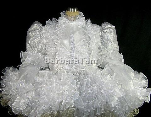 #D10 ADULT SISSY SLIVER WHITE PRISSY DRESS