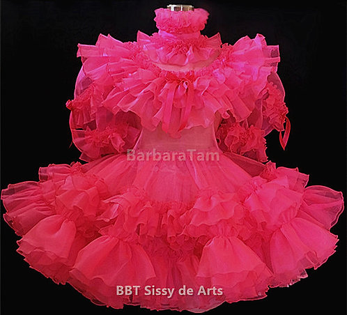D24 BBT Adult Sissy Ruffles Organza Hot Girl Dress