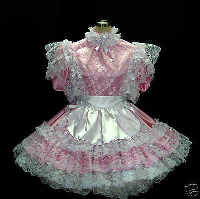 #B12 ADULT SISSY FRENCH LACY MAIDS DRESS