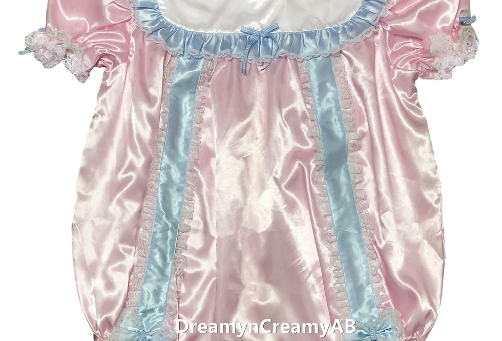ADULT BABY RIBBON ROMPER PINK