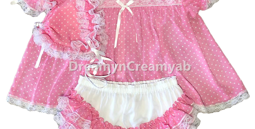 Adult Sissy Baby Polkadots Chiffon Dress Set