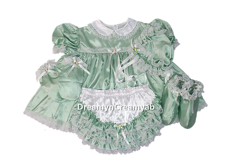 Adult Baby Dots Heavy Satin Dress Full Set