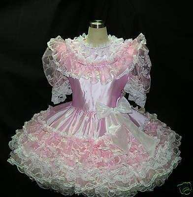 #B20 ADULT SISSY TAFFETA RUFFLE DRESS
