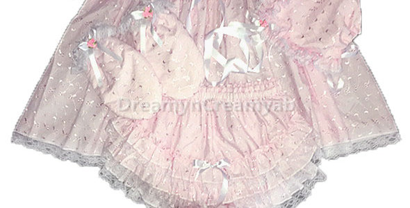 Adult Baby Pink Eyelet Full Dress Set