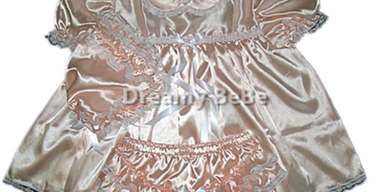 Adult SissyShimmering Satin Peach 3pcs Dress Set