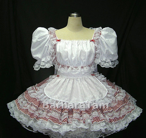 #B24 ADULT SISSY GINGHAM SWISS MAIDS DRESS