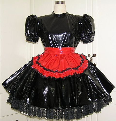 #C47 ADULT SISSY PVC MAIDS GOTHIC DRESS
