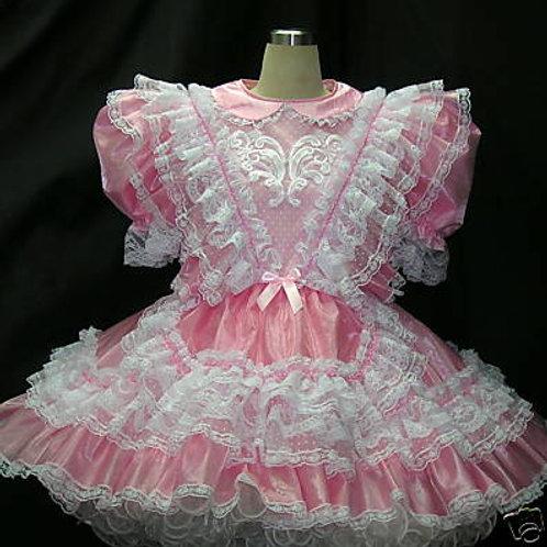 #C32 ADULT SISSY PINK ORGANZA MAIDS DRESS