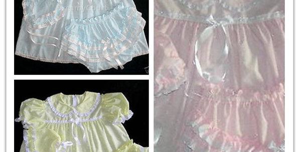 3 SETS  - PACK ADULT BABY EYELET BONNET DRESS SET