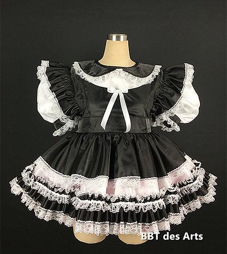 BBT Adult Sissy Taffeta B&W Girl Dress