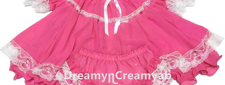 Adult Sissy Baby Flouncy Dress Set Rose