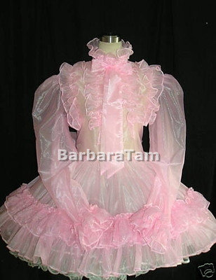 #A04 ADULT SISSY ORGANZA RUFFLES DRESS