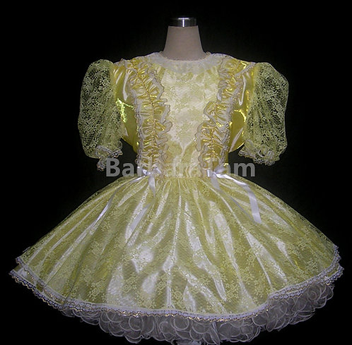 STR 06 BBT Adult Sissy Yellow Lacy Girl Dress