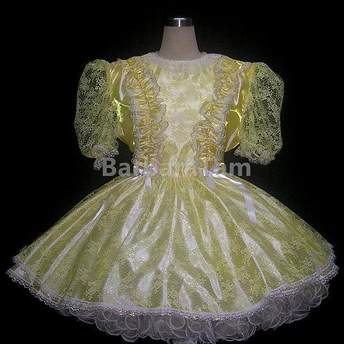 STR 06 BBT Adult Sissy Yellow Lacy Girl Dress