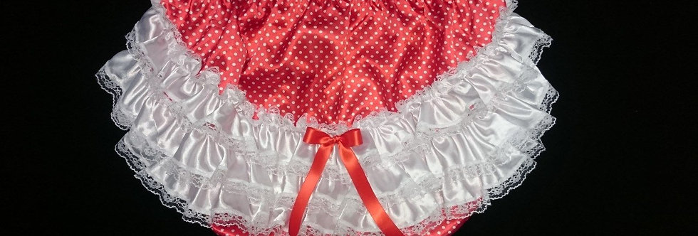 ADULT BABY POLKA DOTS RUMBA PANTIES ( PANTIES WITH NYLON PLASTIC LINED )