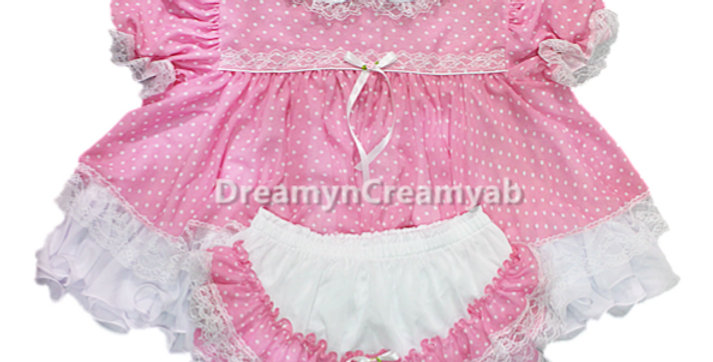 CF01FLC Adult Sissy Polkadots Chiffon BeBe Flouncy Dress Set