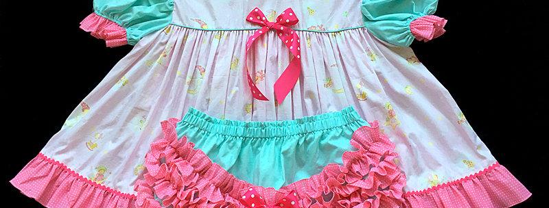 Adult Sissy Moon Night Baby Dress Set ( SNAPCROTCH PANTIES )