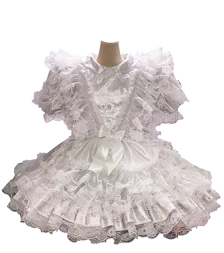 BBT Sliver White Ruffles French Maid Dress