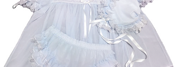 Adult Sissy Baby Chiffon Dress Set Ice Blue