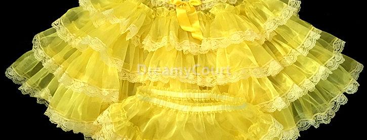 ADULT SISSY BABY RUFFLE ORGANZA DRESS SET