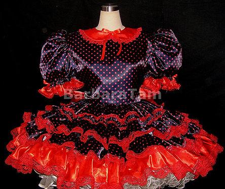 #B02 ADULT SISSY POLKADOT RUFFLES DRESS