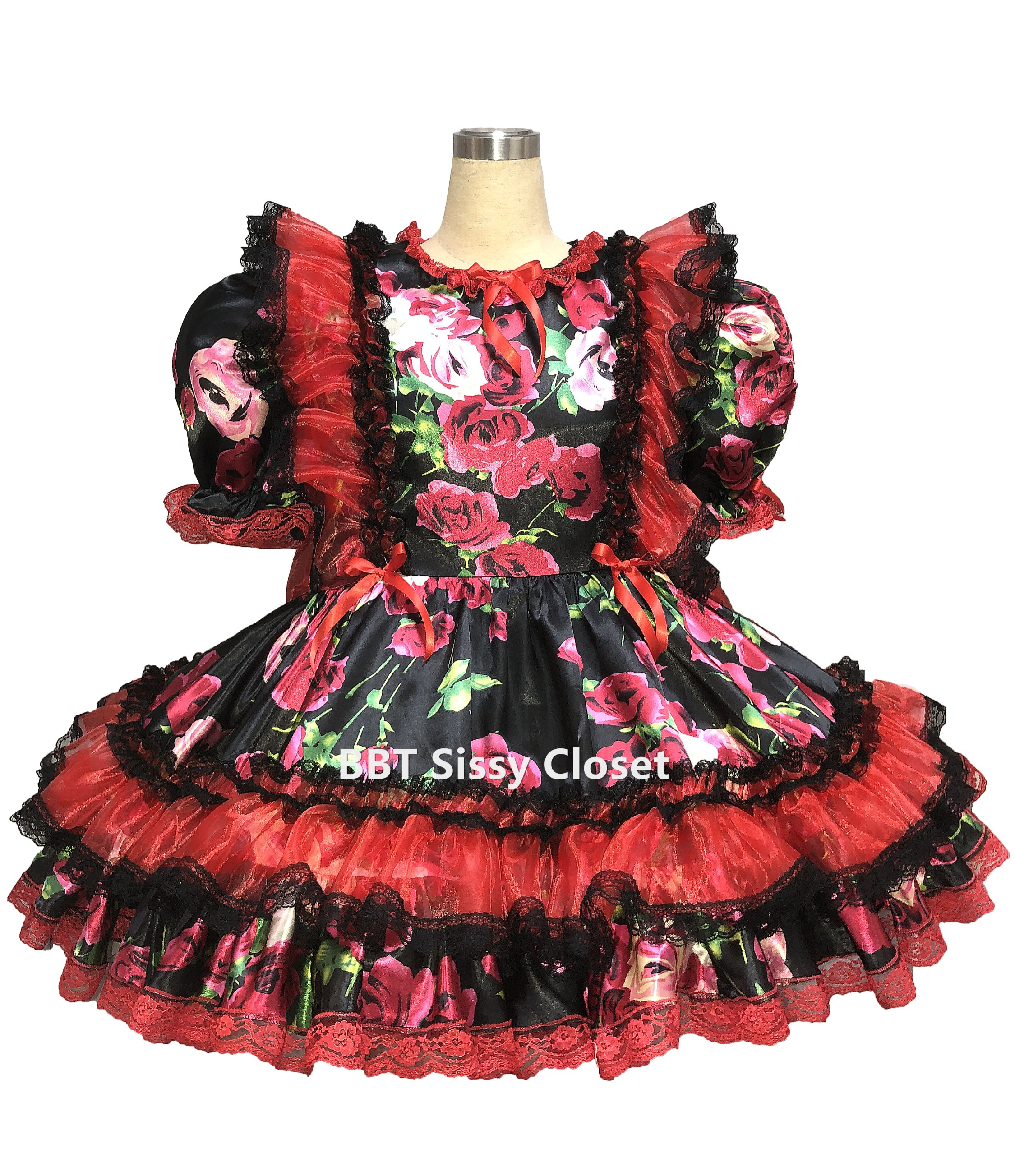 BBT Sissy Rosa Black Satin Ruffly Dress