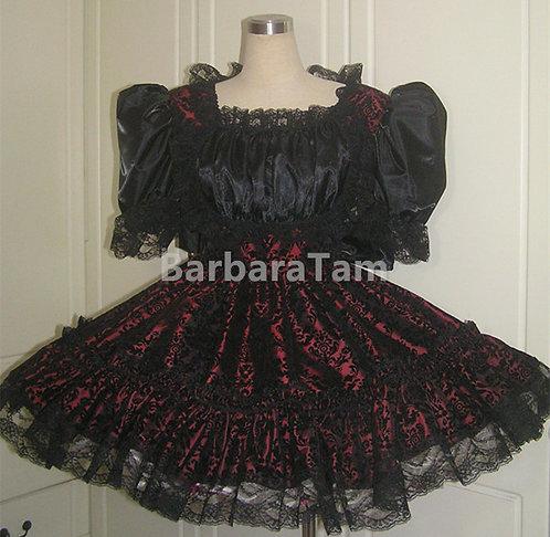 STK 03 BBT Adult Sissy Velvert Gothic Swiss Dress