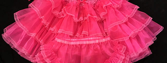 ADULT SISSY BABY RUFFLES ORGANZA DRESS SET