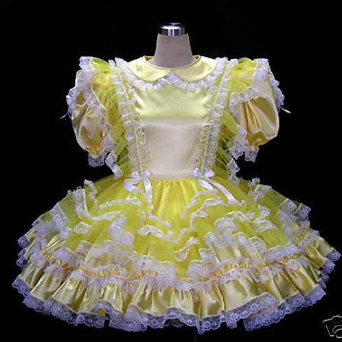 #B38 ADULT SISSY SATIN YELLOW DRESS