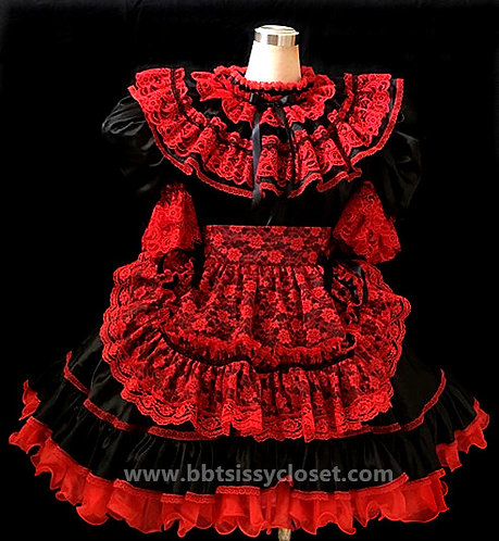 B51 ADULT SISSY GOTHIC LACY FRENCH MAIDS DRESS