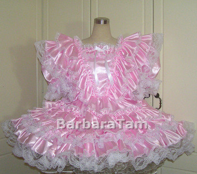 #B39 ADULT SATIN VICT RUFFLES DRESS