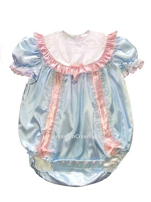 ADULT BABY RIBBON ROMPER BLUE