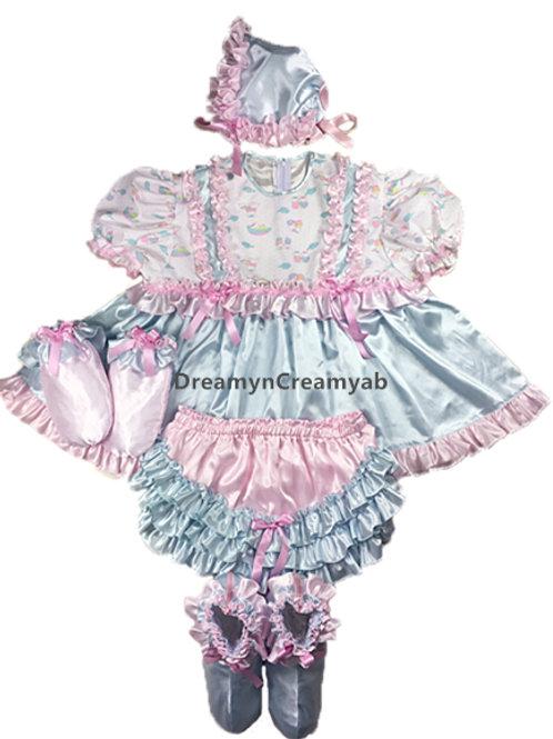 ADULT BABY RUFFLES SATIN FULL DRESS SET