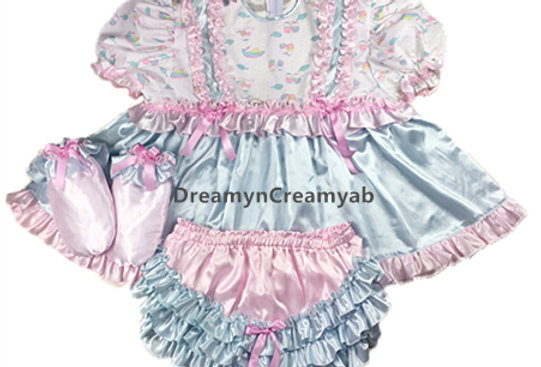 ADULT BABY RUFFLES SATIN FULL DRESS SET