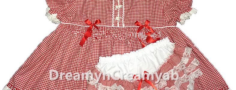 Adult Baby Cotton Gingham Ruffle Butt Dress Set