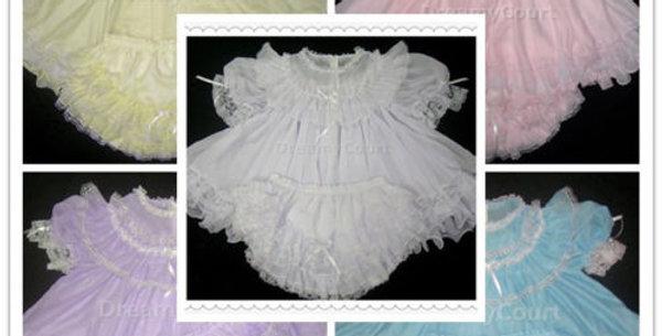 3 SETS / PACK ~ ADULT BABY CHIFFON FLOUNCY DRESS SET
