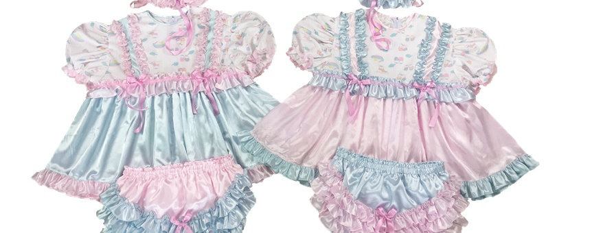 Adult Baby Ruffles Twins baby Dress Sets Pack