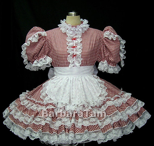 #B10 ADULT SISSY GINGHAM MAID DRESS