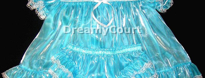 Adult Sissy sky blue Mirroe Organza Baby Dress Set