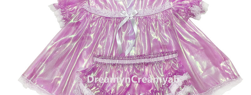 Adult Sissy Mirror Organza Baby Dress Lavender