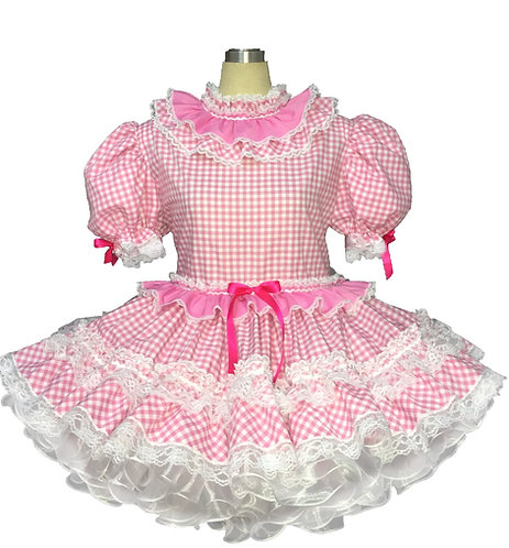 BBT Adult Sissy Gingham Cup Cake Party Dress 04