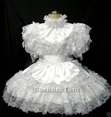 #B05 ADULT SISSY LACY FRENCH MAIDS DRESS