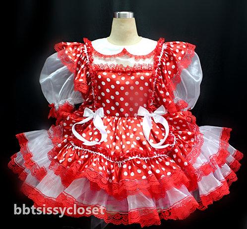 B43 Adult Sissy Polkadots Maids Dress