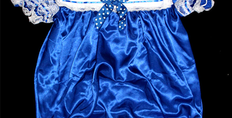 ADULT BABY SATIN SAILOR ROMPER ( OPEN CROTCH )