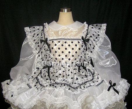 STK 02 BBT Adult Sissy Organza Dots Maids Dress