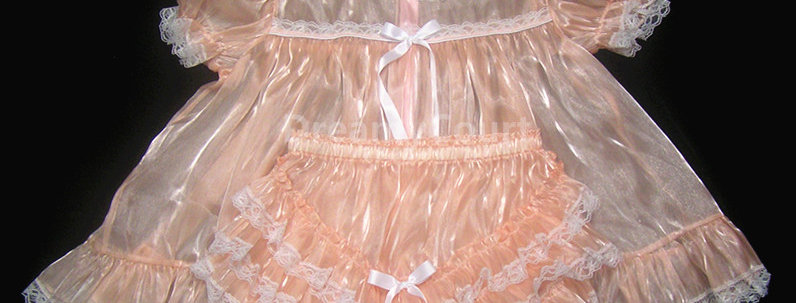 Adult Sissy Mirror Organza Baby Dress SEt