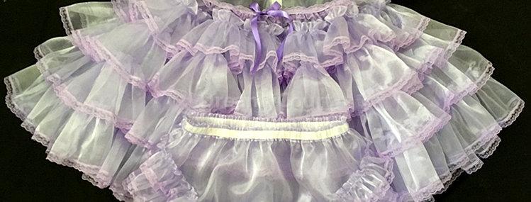 ADULT SISSY ORGANZA RUFFLES BABY DRESS SET