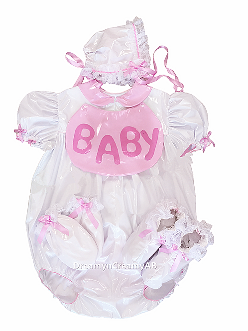 ADULT BABY OPEN BUTT SISSY PVC ROMPER BIB , MITTEN AND BOOTIES SET
