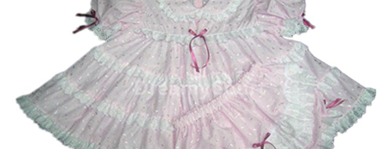 Adult Sissy Baby Eyelet Ruffles Dress ( open crotch )