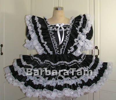 #B25 ADULT SISSY TAFFETA RUFFLES DRESS